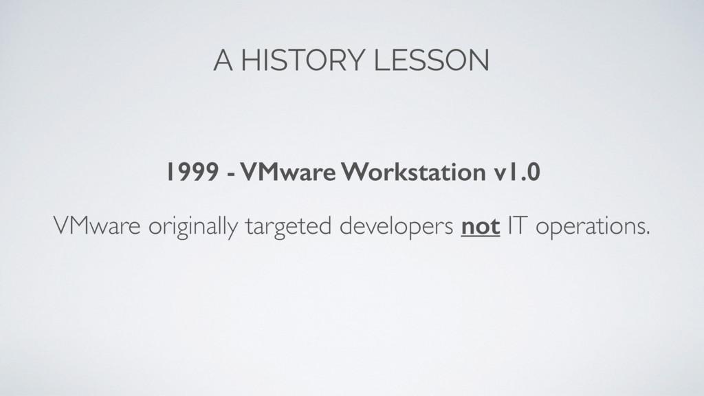 A HISTORY LESSON 1999 - VMware Workstation v1.0...
