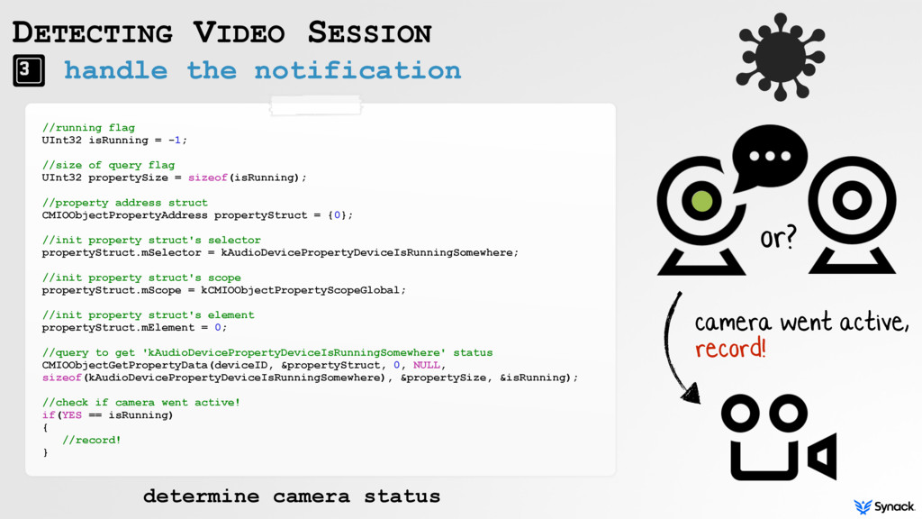handle the notification DETECTING VIDEO SESSION...