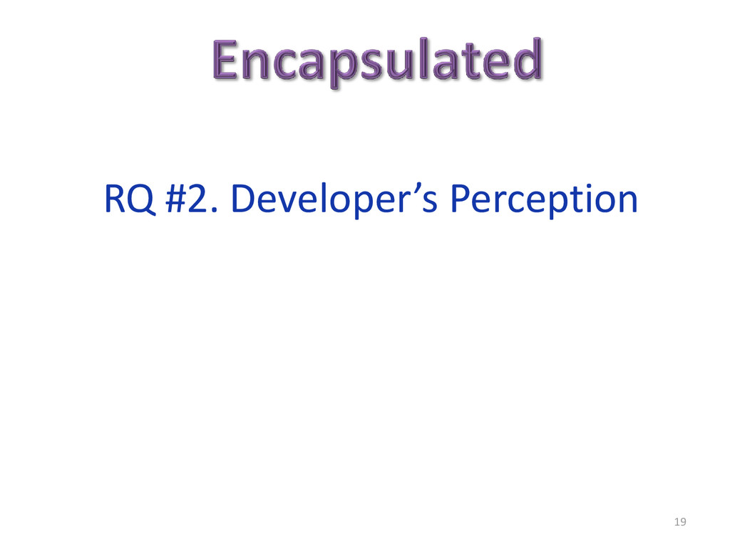 19 RQ #2. Developer's Perception