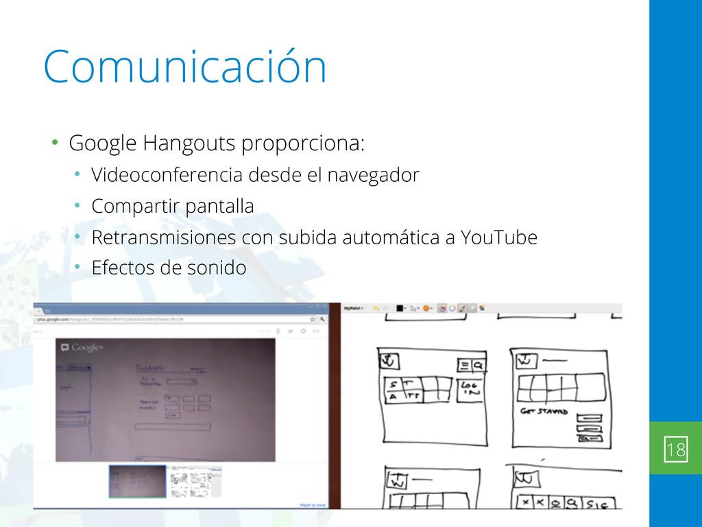 Comunicación • Google Hangouts proporciona: • V...