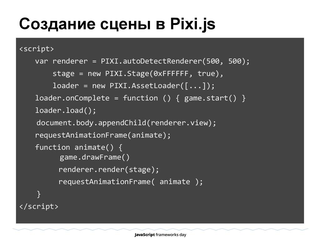 Создание сцены в Pixi.js <script> var renderer ...