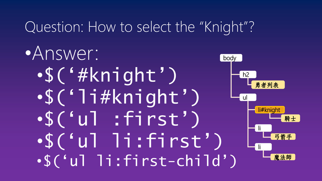 "Question: How to select the ""Knight""? •Answer: ..."