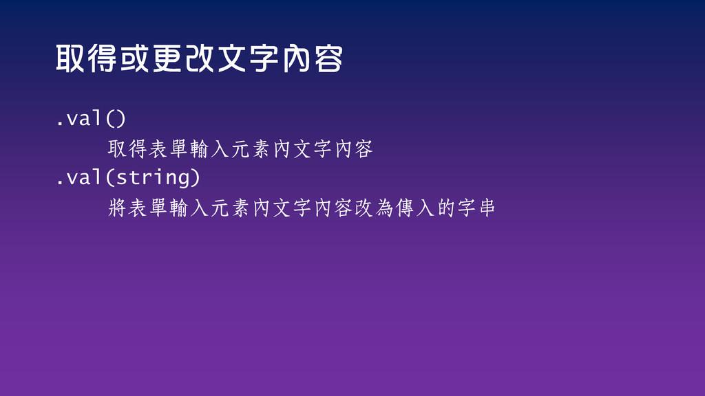 .val() 取得表單輸入元素內文字內容 .val(string) 將表單輸入元素內文字內容改...
