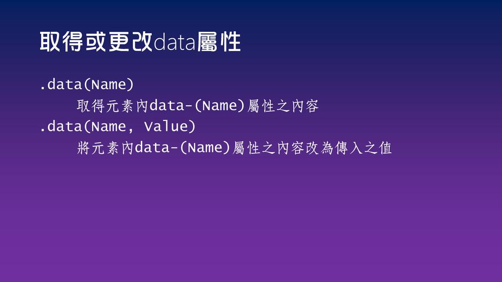 data .data(Name) 取得元素內data-(Name)屬性之內容 .data(Na...
