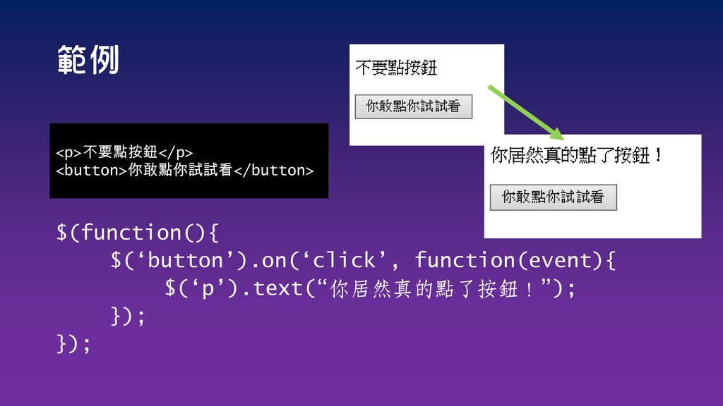 $(function(){ $('button').on('click', function(...
