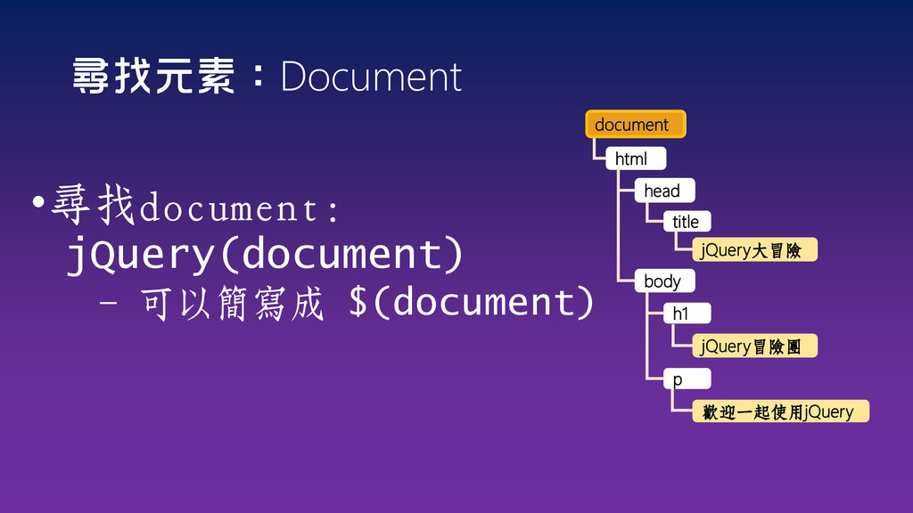 Document •尋找document: jQuery(document) - 可以簡寫成 ...
