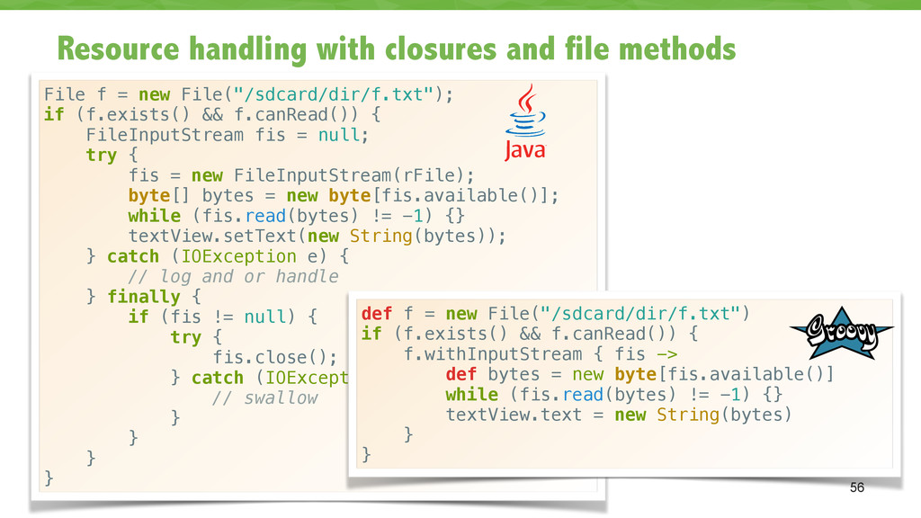 Resource handling with closures and file method...