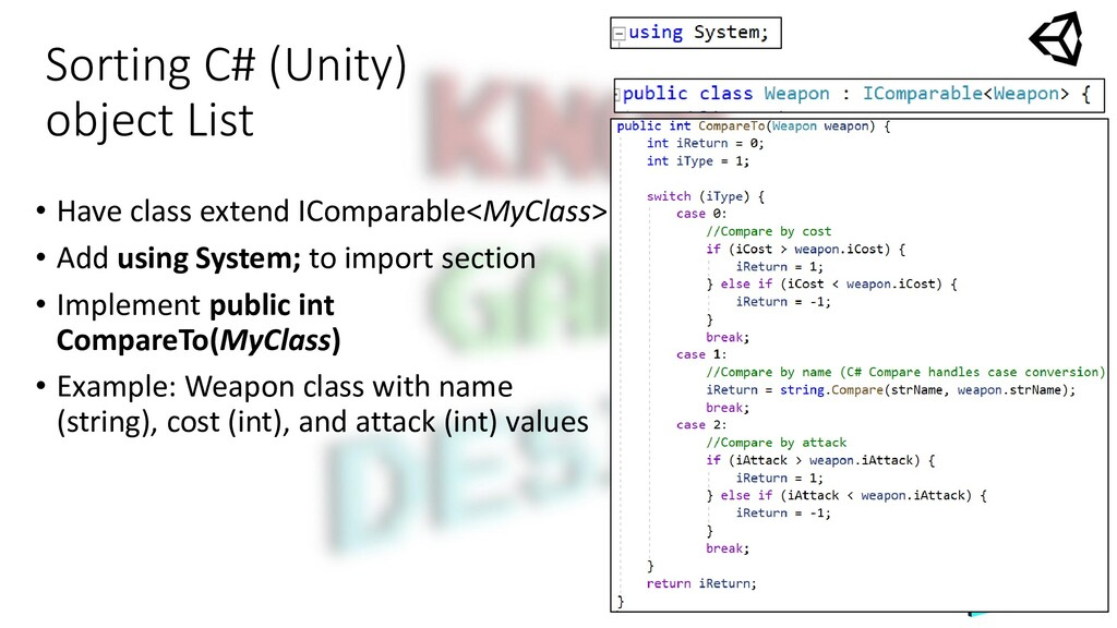 Sorting C# (Unity) object List • Have class ext...