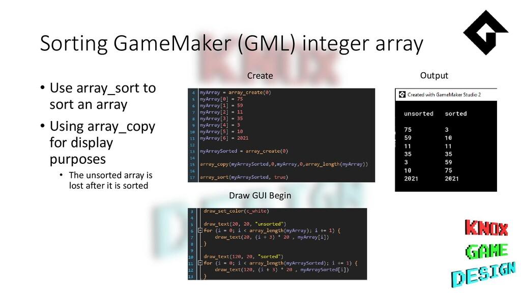 Sorting GameMaker (GML) integer array • Use arr...