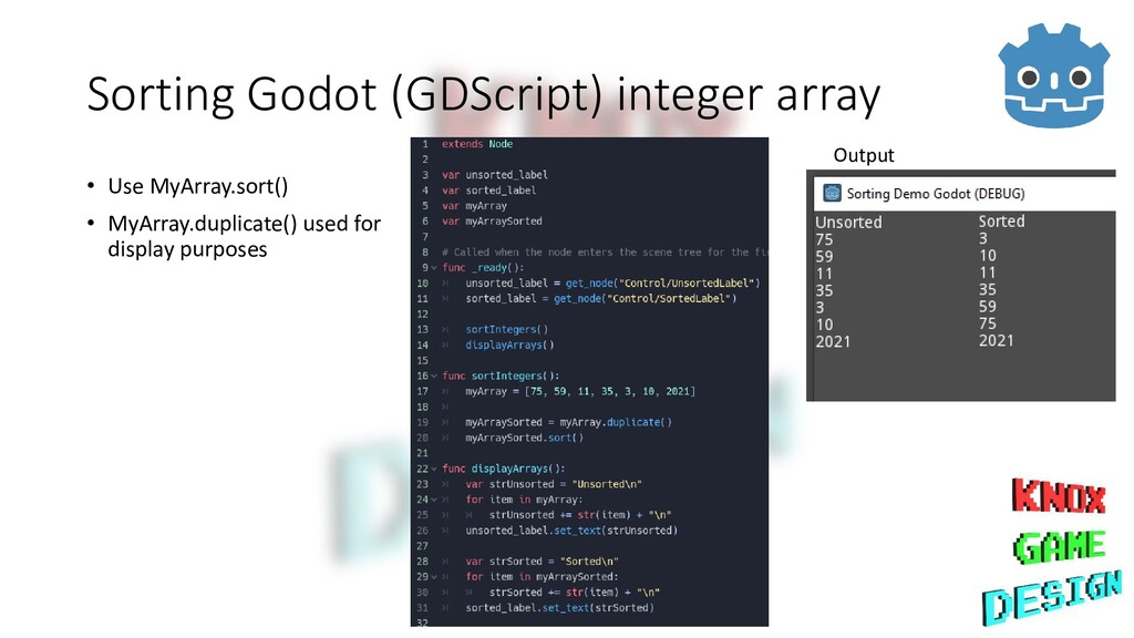 Sorting Godot (GDScript) integer array • Use My...