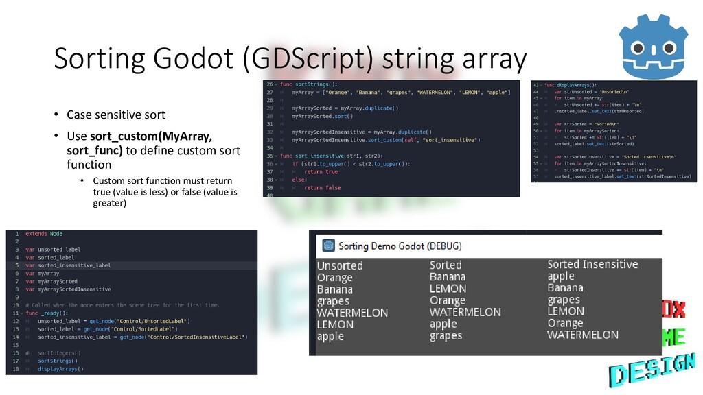 Sorting Godot (GDScript) string array • Case se...
