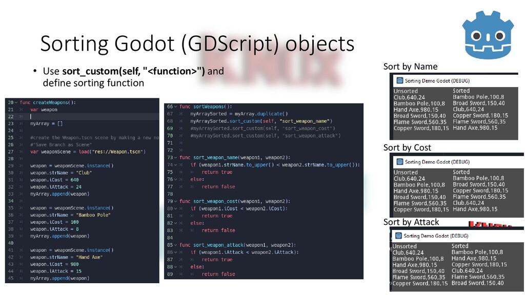 Sorting Godot (GDScript) objects • Use sort_cus...