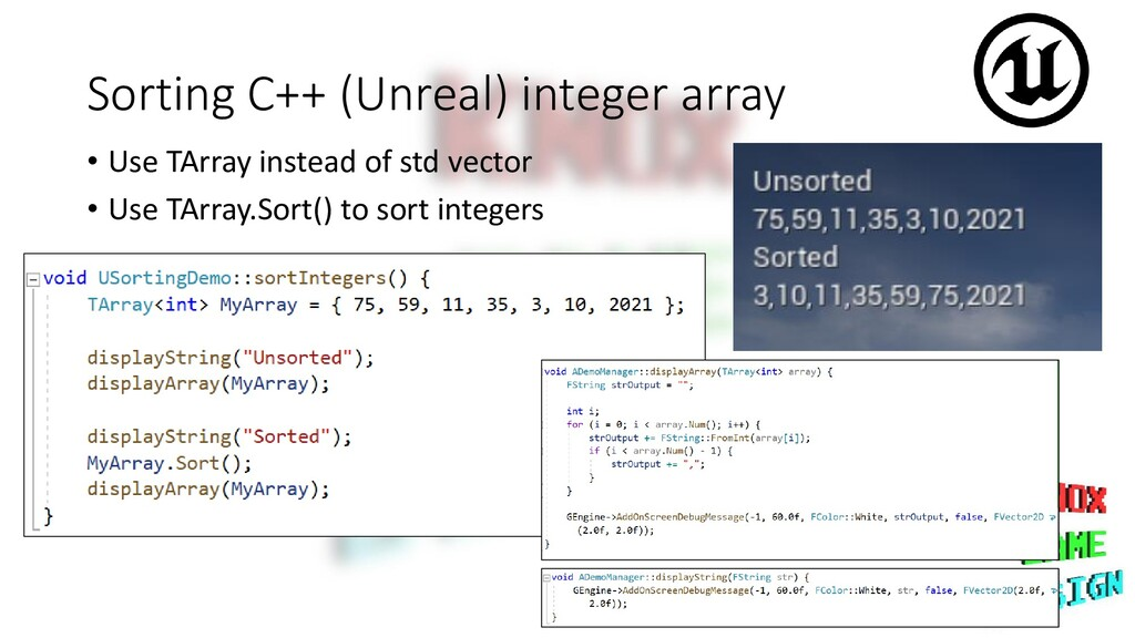 Sorting C++ (Unreal) integer array • Use TArray...