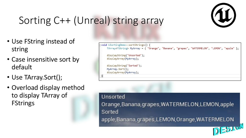 Sorting C++ (Unreal) string array • Use FString...