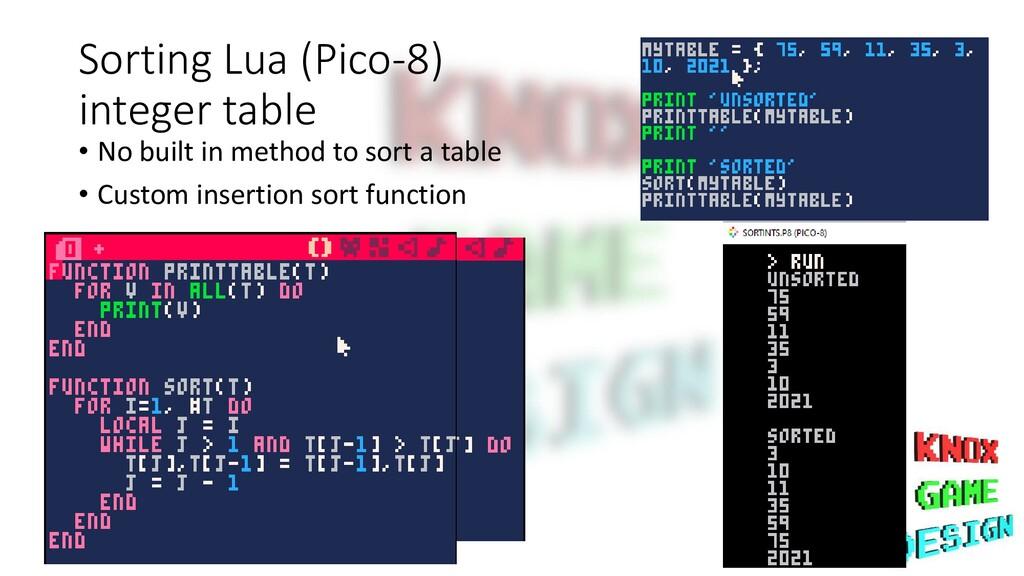Sorting Lua (Pico-8) integer table • No built i...