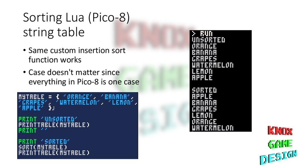 Sorting Lua (Pico-8) string table • Same custom...