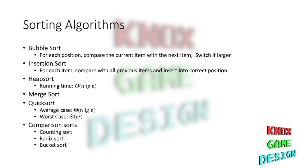 Sorting Algorithms • Bubble Sort • For each pos...
