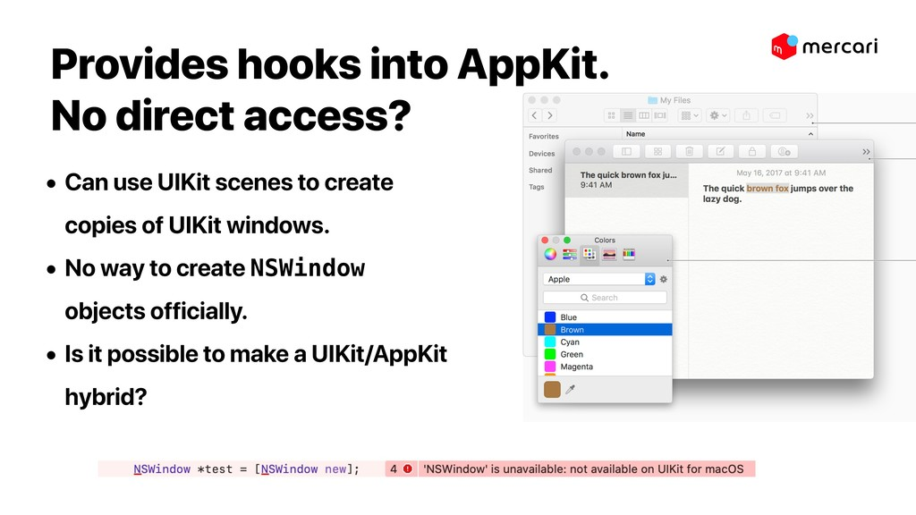 Provides hooks into AppKit.  No direct access?...