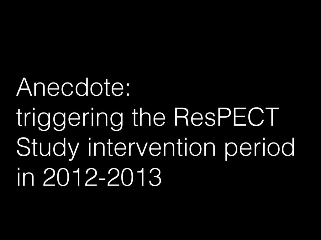 Anecdote: triggering the ResPECT Study interven...