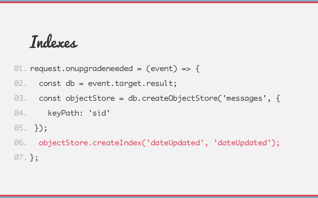 Indexes request.onupgradeneeded = (event) => { ...
