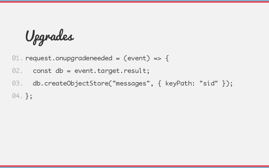 Upgrades request.onupgradeneeded = (event) => {...