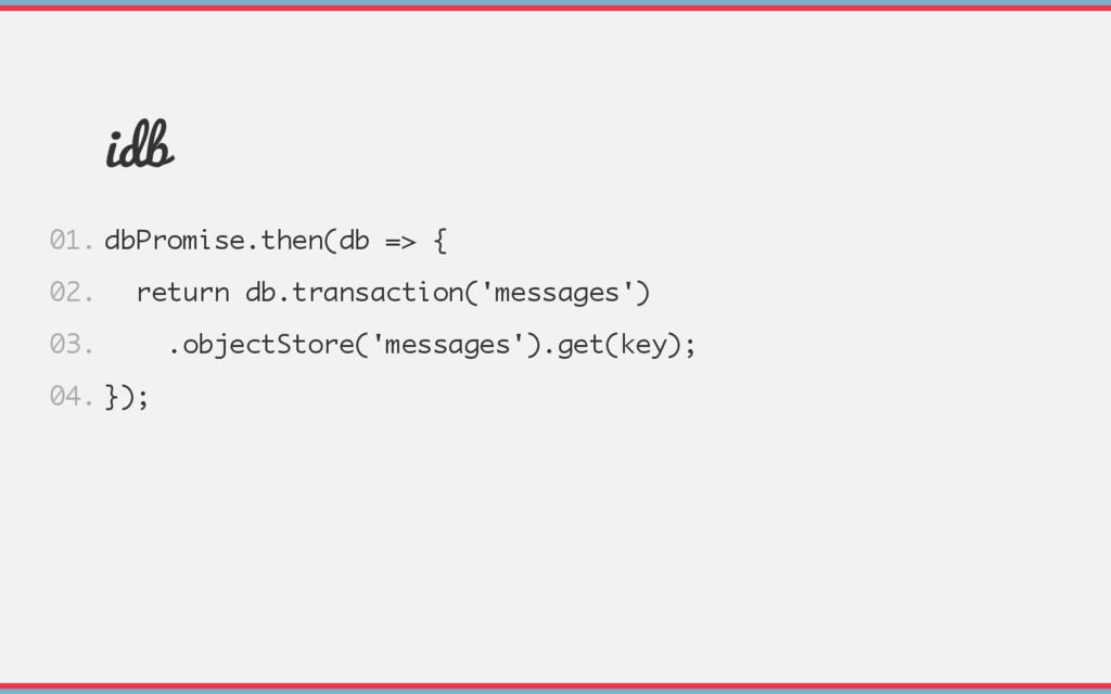 idb dbPromise.then(db => { return db.transactio...