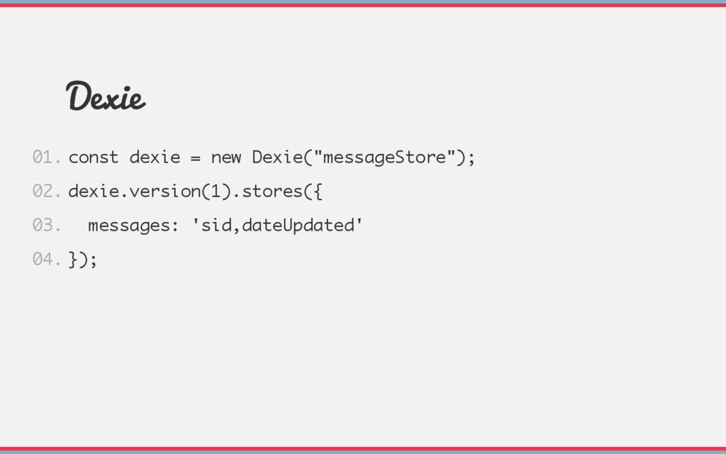 "Dexie const dexie = new Dexie(""messageStore""); ..."
