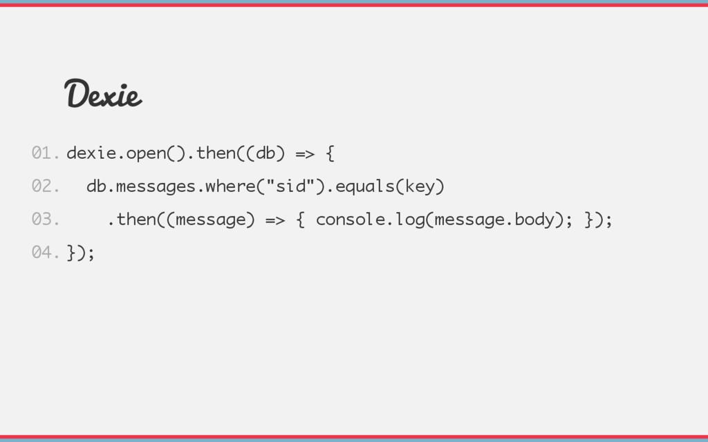 Dexie dexie.open().then((db) => { db.messages.w...