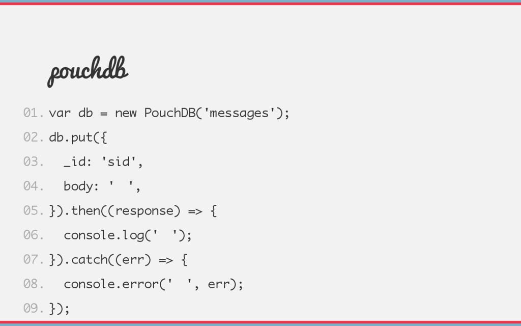pouchdb var db = new PouchDB('messages'); db.pu...
