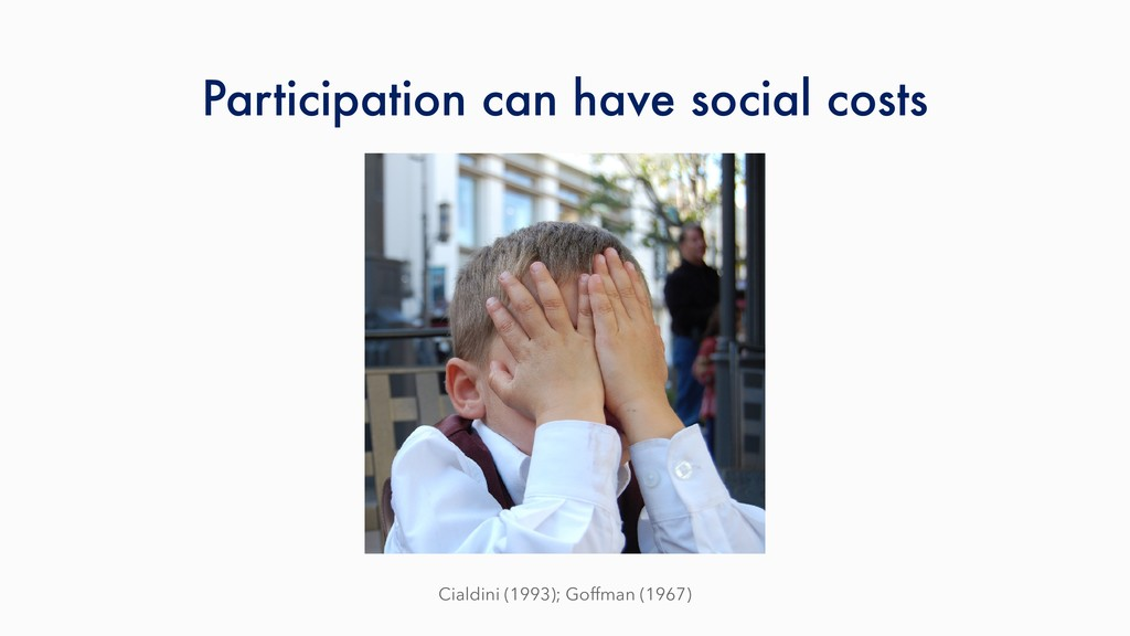Participation can have social costs Cialdini (1...
