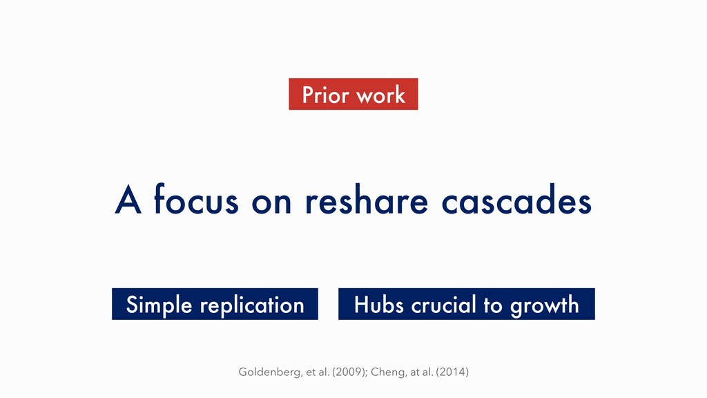 A focus on reshare cascades Prior work Hubs cru...
