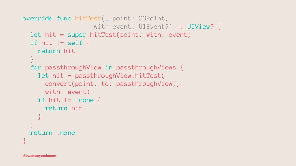 override func hitTest(_ point: CGPoint, with ev...