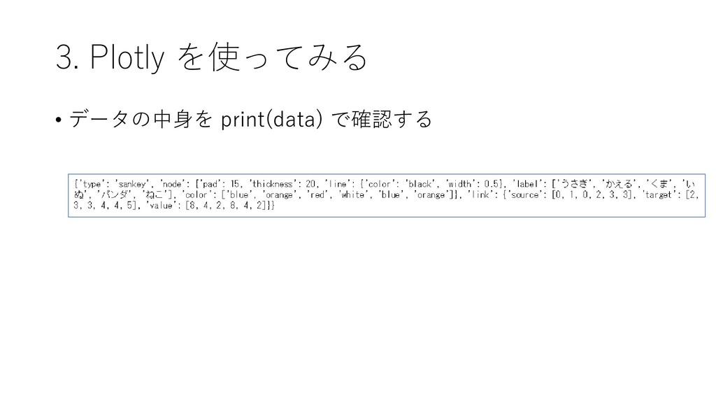 3. Plotly を使ってみる • データの中身を print(data) で確認する