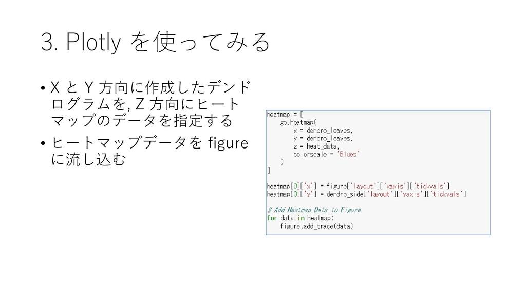 3. Plotly を使ってみる • X と Y 方向に作成したデンド ログラムを, Z 方向...