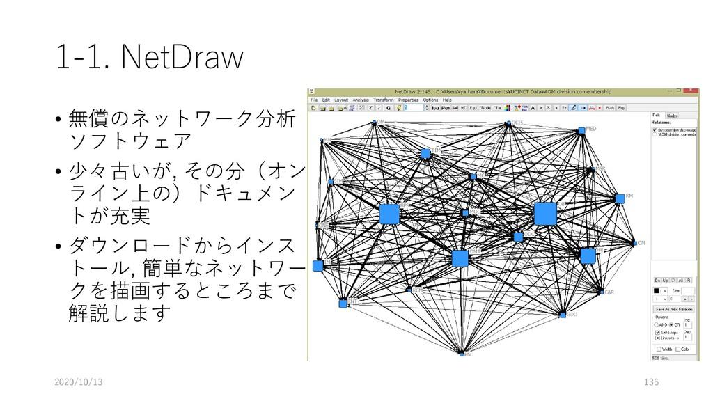 1-1. NetDraw • 無償のネットワーク分析 ソフトウェア • 少々古いが, その分(...