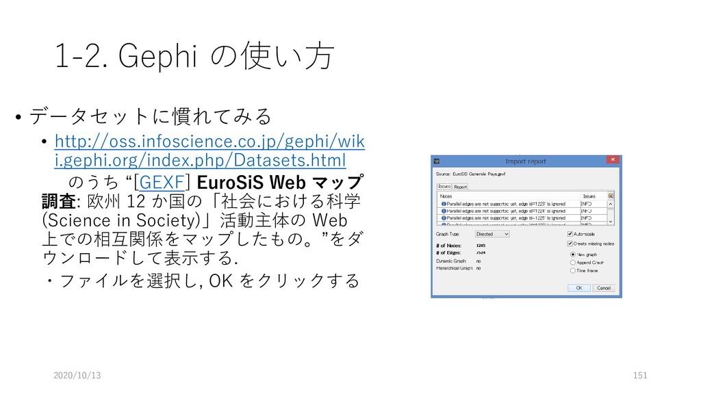 1-2. Gephi の使い方 • データセットに慣れてみる • http://oss.inf...