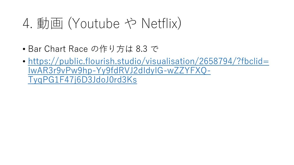 4. 動画 (Youtube や Netflix) • Bar Chart Race の作り方...