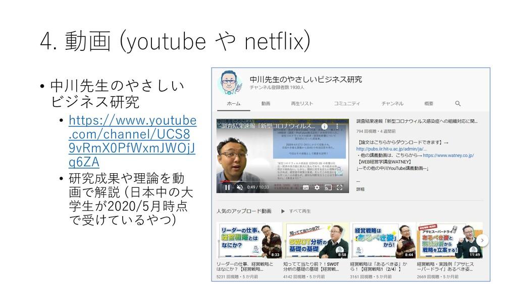 4. 動画 (youtube や netflix) • 中川先生のやさしい ビジネス研究 • ...