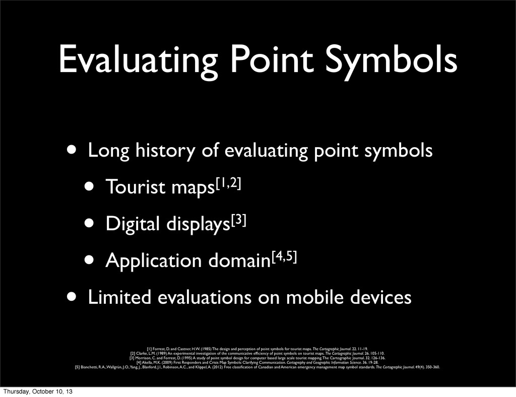 Evaluating Point Symbols • Long history of eval...