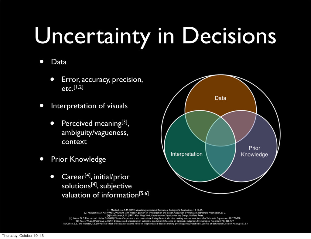 Uncertainty in Decisions • Data • Error, accura...