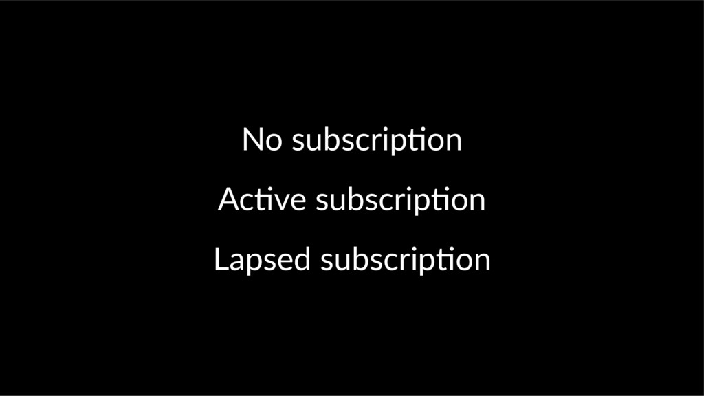 No subscrip on Ac ve subscrip on Lapsed subscri...
