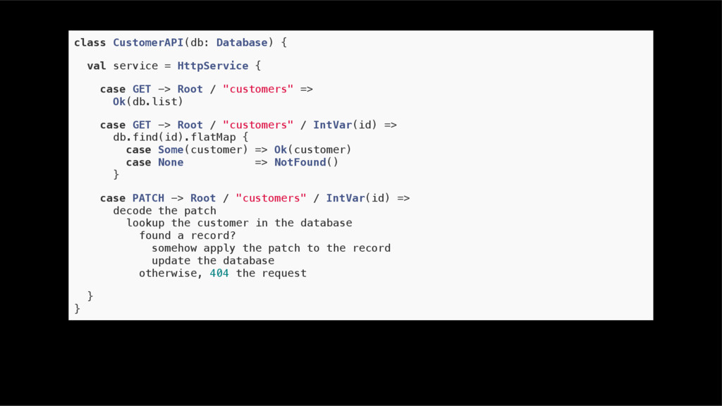 class CustomerAPI(db: Database) { val service =...