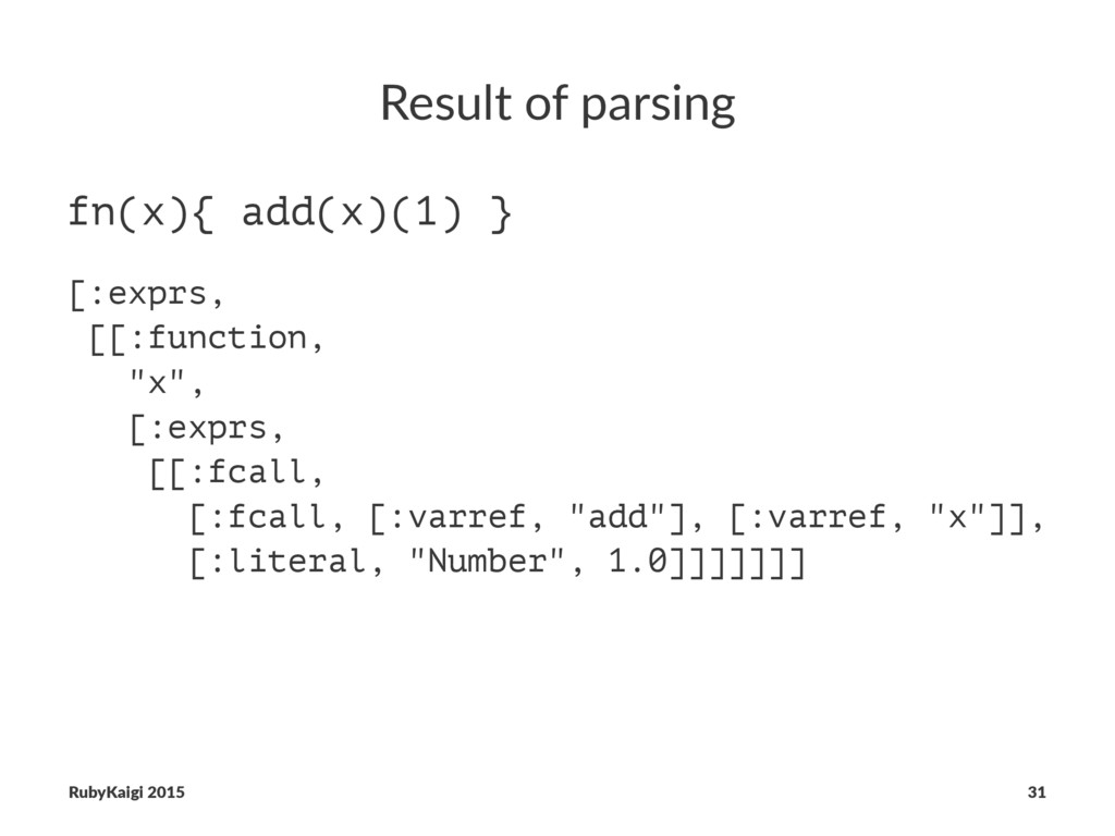 Result of parsing fn(x){ add(x)(1) } [:exprs, [...