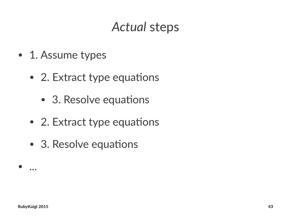 Actual steps • 1. Assume types • 2. Extract typ...