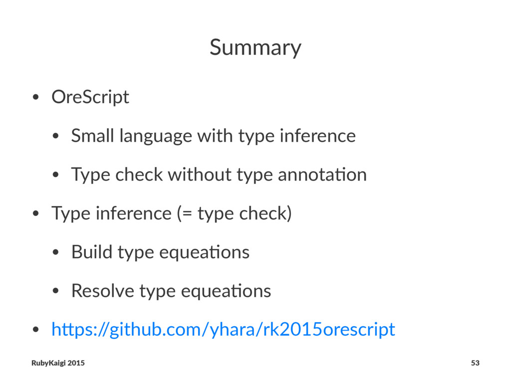 Summary • OreScript • Small language with type ...