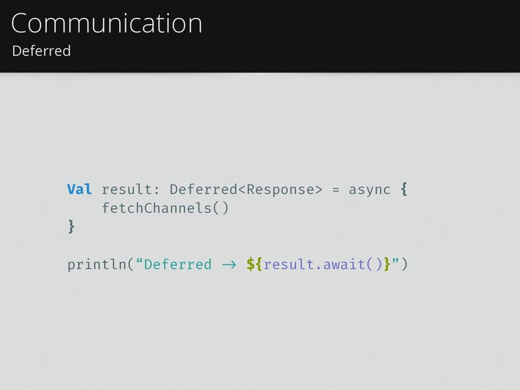 Deferred Communication Val result: Deferred<Res...