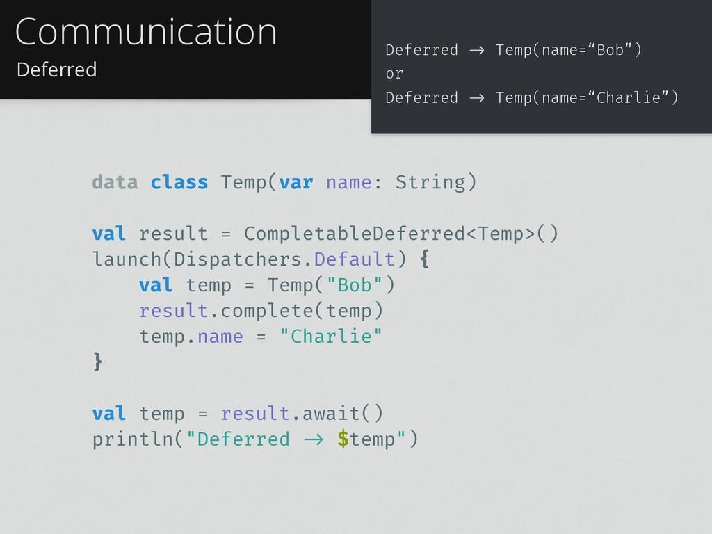 Deferred Communication data class Temp(var name...
