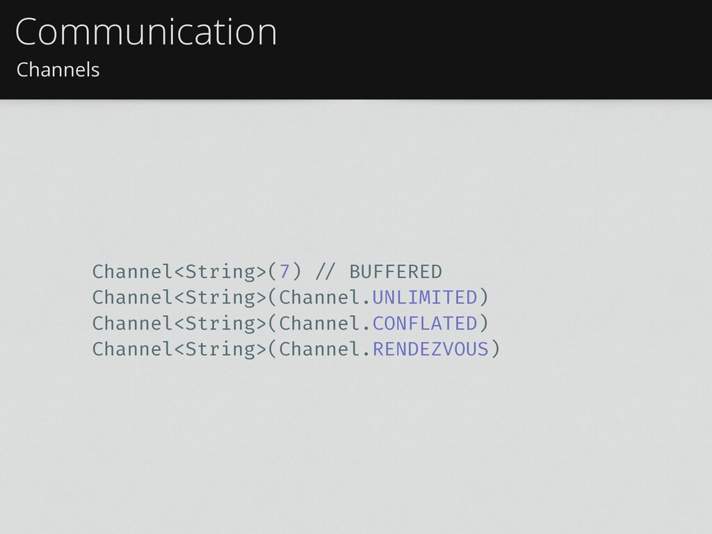 Channels Communication Channel<String>(7) !// B...