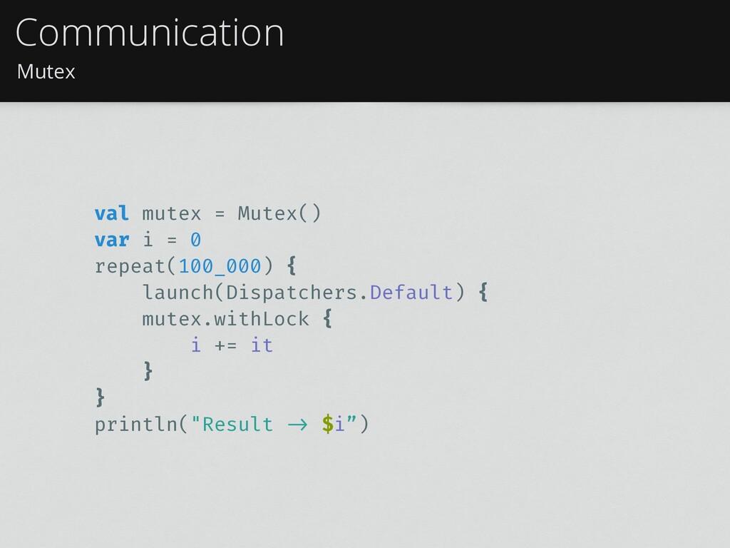 Mutex Communication val mutex = Mutex() var i =...