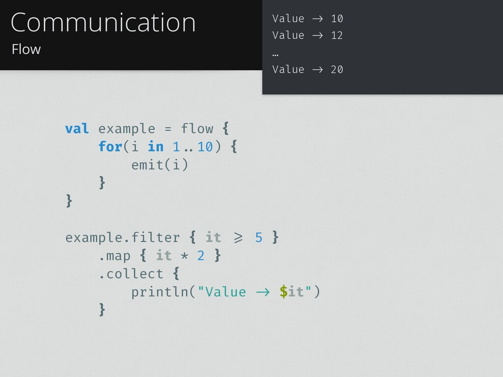 Flow Communication val example = flow { for(i i...